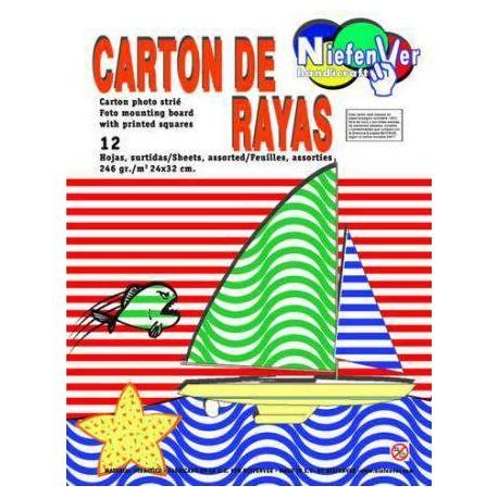 CARTULINA RAYAS 24X32 COLORES NORMALES B/12 H