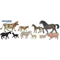 ANIMALES GRANJA CON BEBES 10 FIGURAS