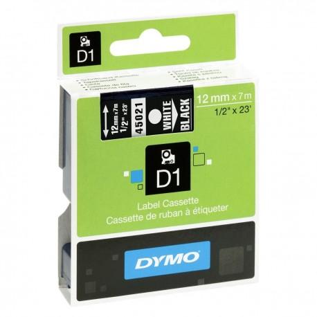 CINTA DYMO D1 12MM X 7M BLANCO/NEGRO 45021