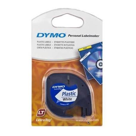 CINTA DYMO LETRATAG 12MM PLASTICO NEGRO/BLAN 91201