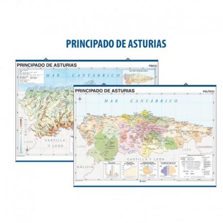 Mapa De Asturias Fisico.Mapa Mural Principado De Asturias Fisico Politico