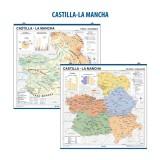 MAPA MURAL CASTILLA-LA MANCHA FISICO/POLITICO