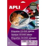 (L) ETIQUETAS APLI 10600 CD/DVD 117 REMOVIBLE