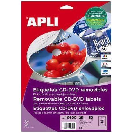 (L) ETIQUETAS APLI 10601 CD/DVD 117 PERMANENTE