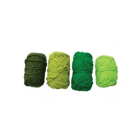 Ovillos Lana Tonos Verdes 4 Uds - Tonos-verde