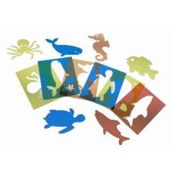 PLANTILLAS TRANS DOBLES 6 UDS ANIMALES MARINOS